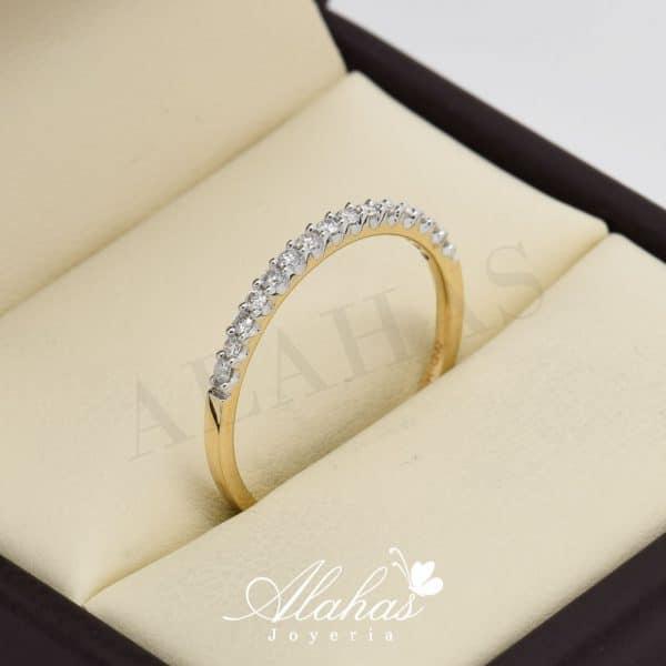 Alianza de boda en oro 14k con diamantes adiam-001