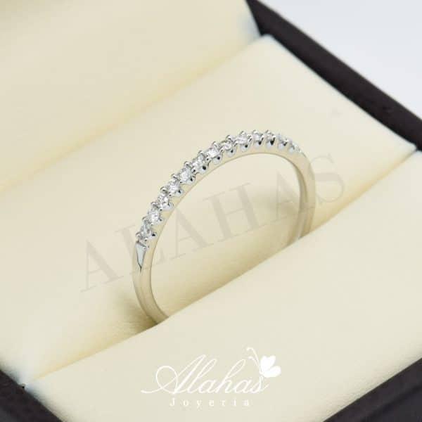 Alianza de boda en oro 14k con diamantes adiam-002