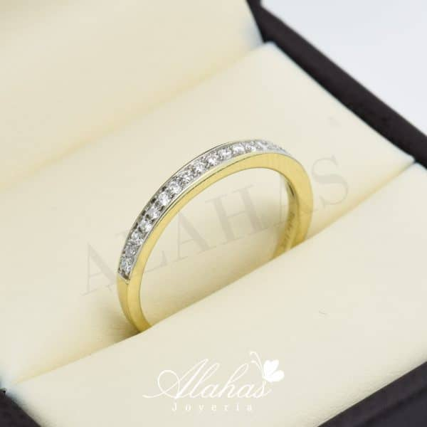 Alianza de boda en oro 14k con diamantes adiam-004