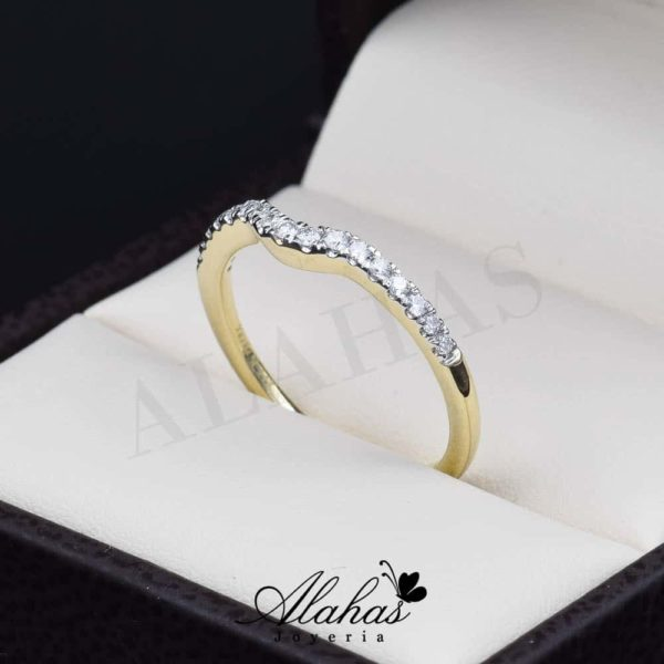 Alianza de boda en oro 14k con diamantes adiam-006