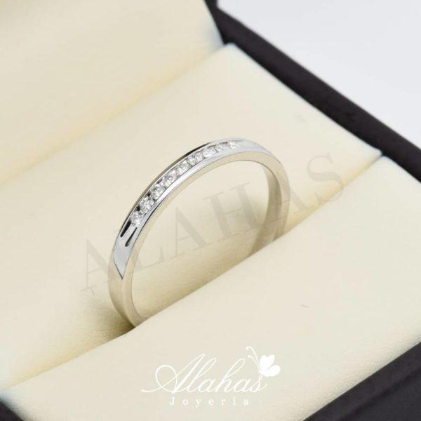 Alianza de boda en oro 14k con diamantes adiam-007
