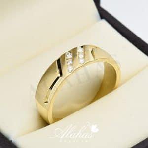 Alianza de boda en oro 14k con diamantes adiam-008