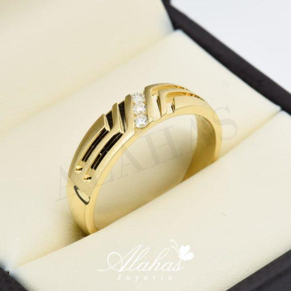 Alianza de boda en oro 14k con diamantes adiam-009