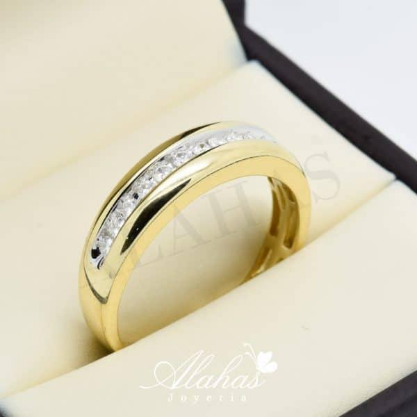 Alianza de boda en oro 14k con diamantes adiam-011