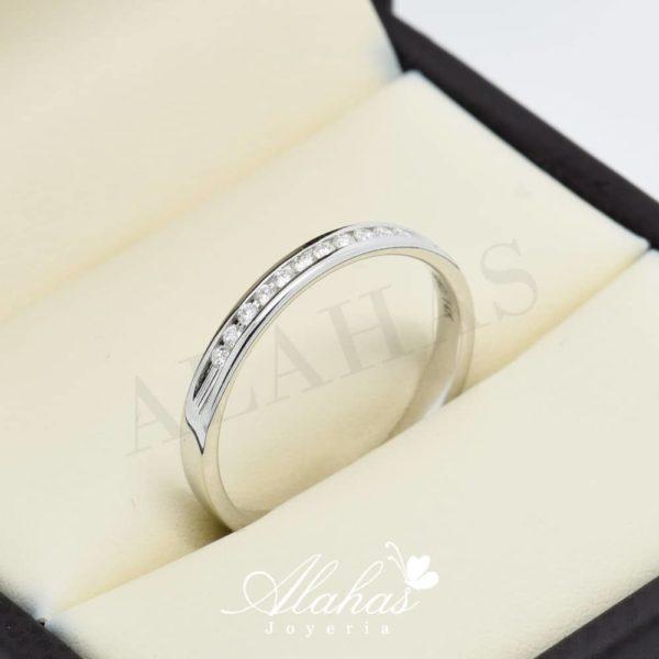 Alianza de boda en oro 14k con diamantes adiam-012