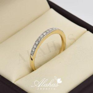 Alianza de boda en oro 14k con diamantes adiam-013