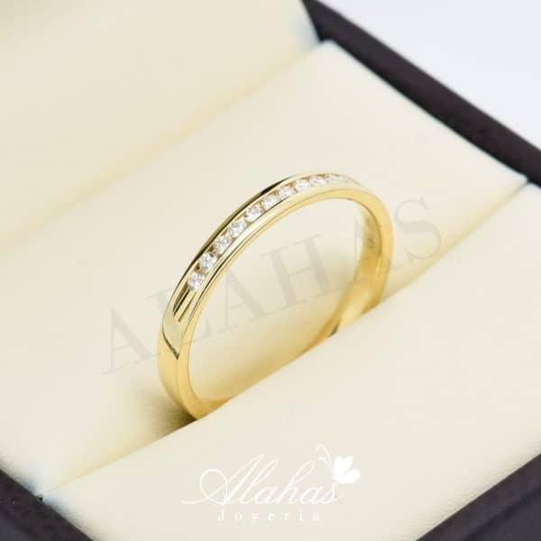 Alianza de boda en oro 14k con diamantes adiam-014
