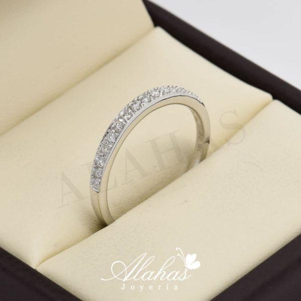 Alianza de boda en oro 14k con diamantes adiam-019