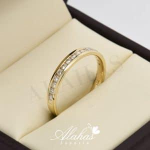 Alianza de boda en oro 14k con diamantes adiam-020