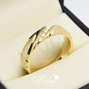 Alianza de boda en oro 14k con diamantes adiam-024