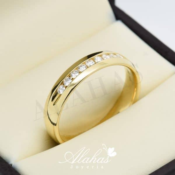 Alianza de boda en oro 14k con diamantes adiam-025