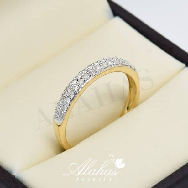 Alianza de boda en oro 14k con diamantes adiam-027