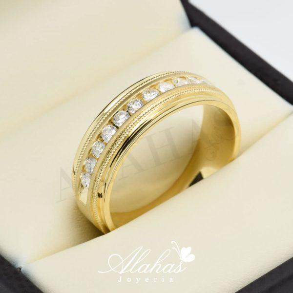 Alianza de boda en oro 14k con diamantes adiam-028