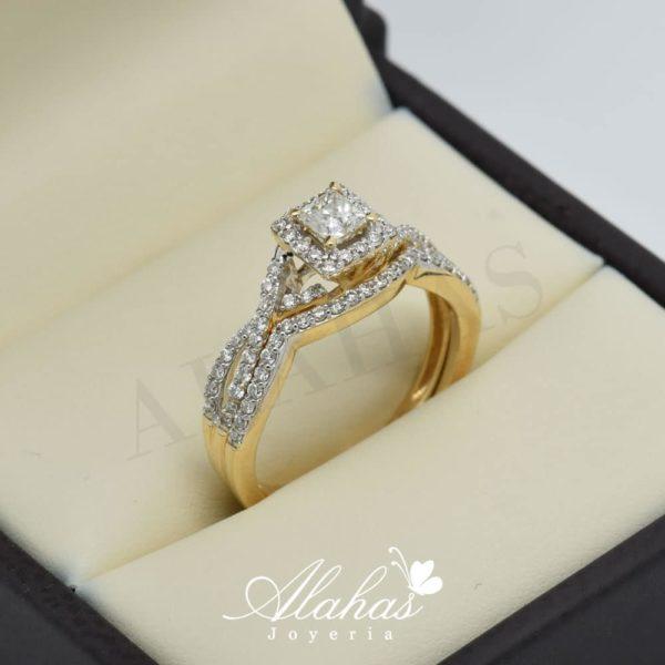 Duo de boda en oro 14k con diamantes ddiam-006