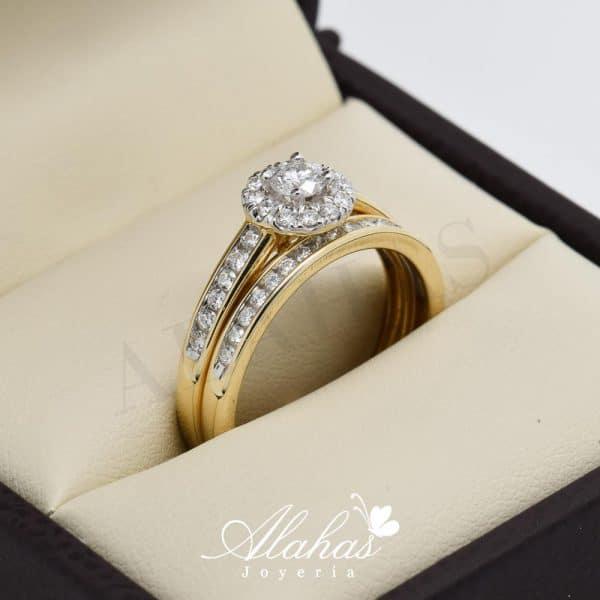 Duo de boda en oro 14k con diamantes ddiam-009