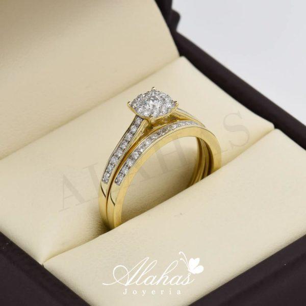 Duo de boda en oro 14k con diamantes ddiam-012