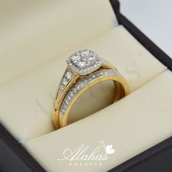 Duo de boda en oro 14k con diamantes ddiam-022