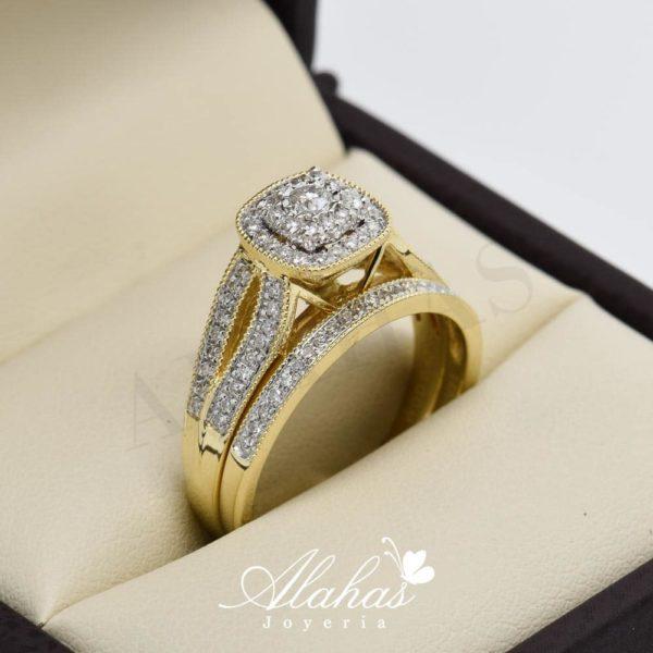 Duo de boda en oro 14k con diamantes ddiam-023
