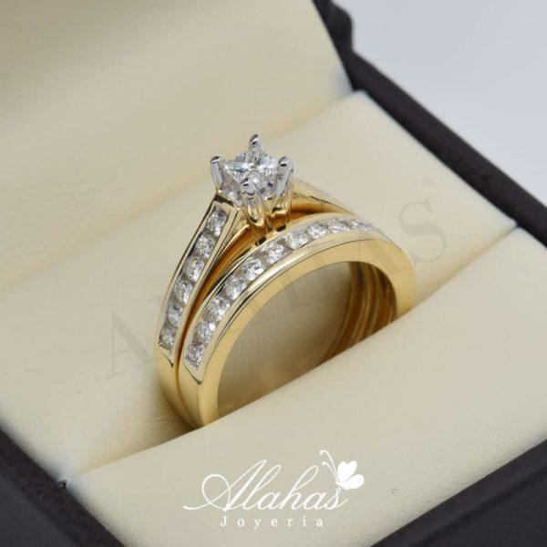 Duo de boda en oro 14k con diamantes ddiam-036