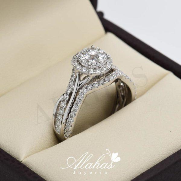 Duo de boda en oro 14k con diamantes ddiam-043