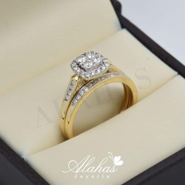 Duo de boda en oro 14k con diamantes ddiam-046