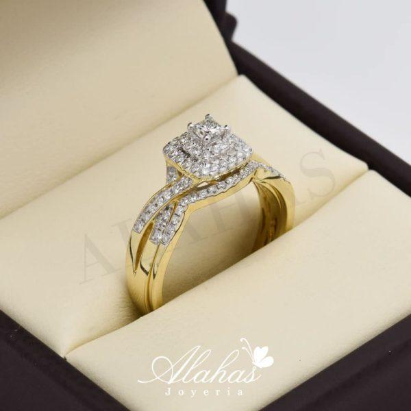 Duo de boda en oro 14k con diamantes ddiam-047