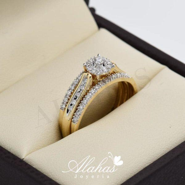 Duo de boda en oro 14k con diamantes ddiam-048