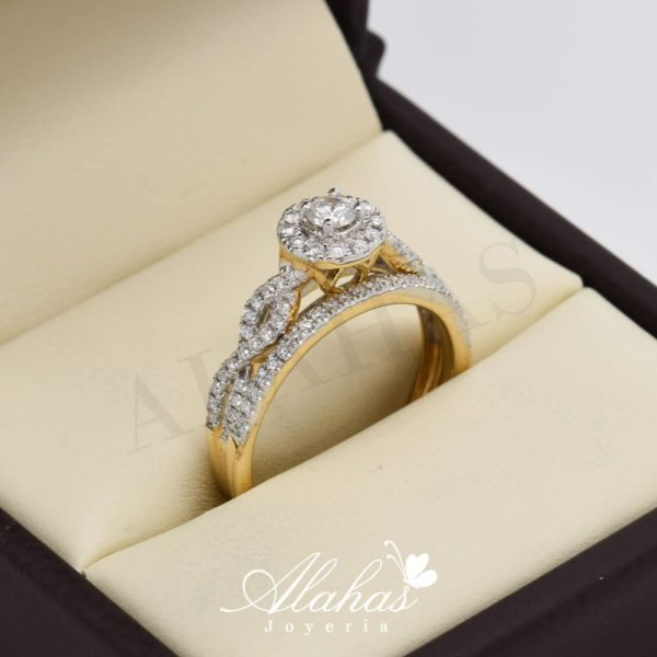 Duo de boda en oro 14k con diamantes ddiam-055
