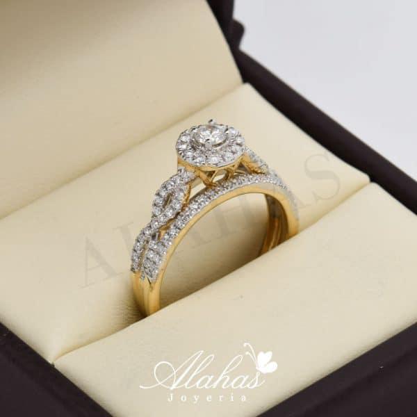 Duo de boda en oro 14k con diamantes ddiam-055