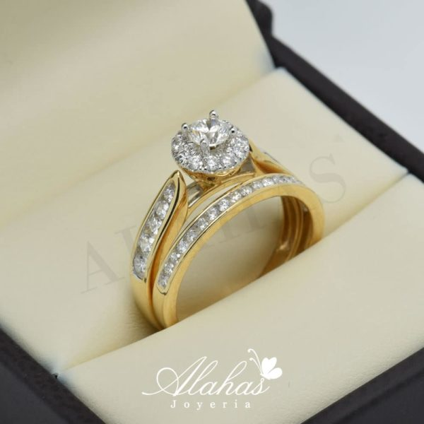 Duo de boda en oro 14k con diamantes ddiam-057
