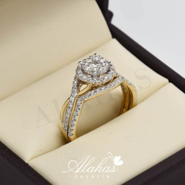 Duo de boda en oro 14k con diamantes ddiam-063