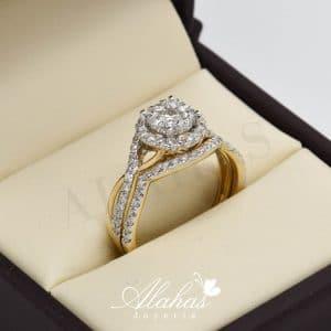 Duo de boda en oro 14k con diamantes ddiam-063