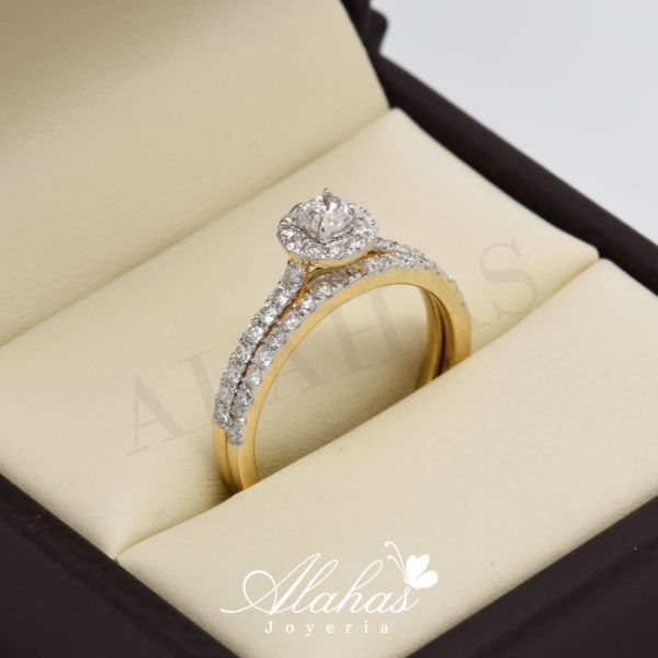 Duo de boda en oro 14k con diamantes ddiam-066