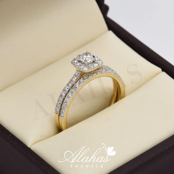 Duo de boda en oro 14k con diamantes ddiam-068