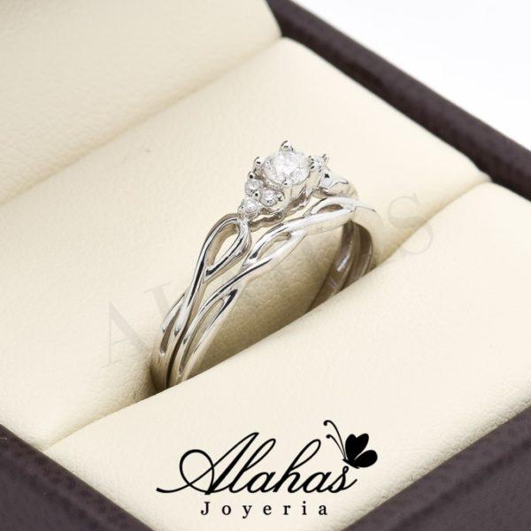 Duo de boda en oro 14k con diamantes ddiam-070