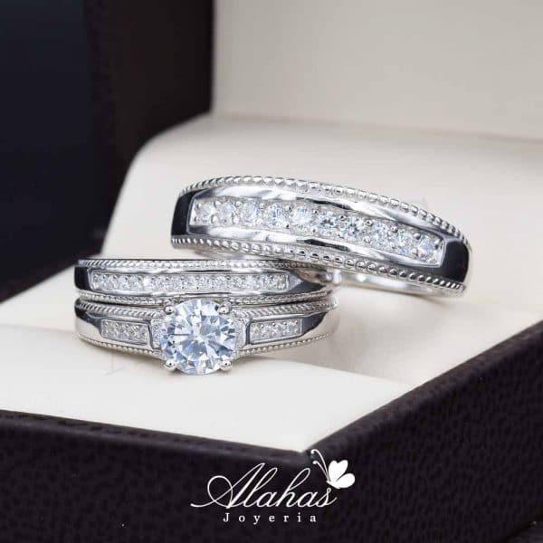 Trio de boda en plata 925 ABPT-002