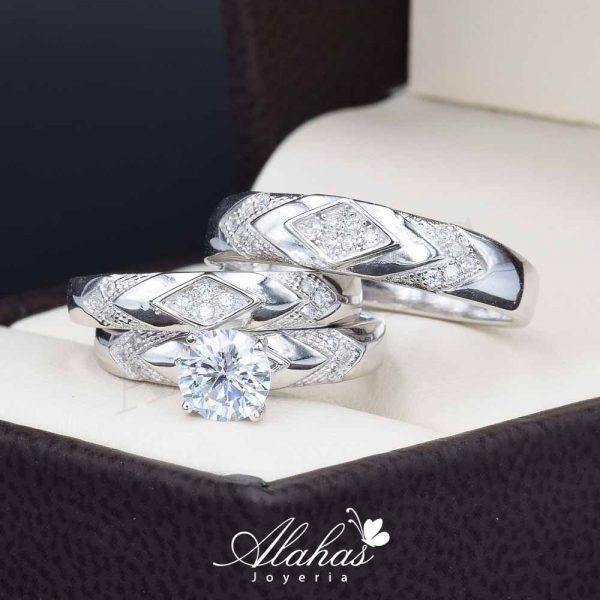 Trio de boda en plata 925 ABPT-007