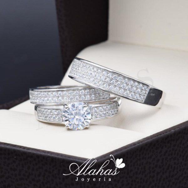 Trio de boda en plata 925 ABPT-009