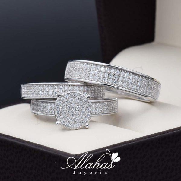 Trio de boda en plata 925 ABPT-010