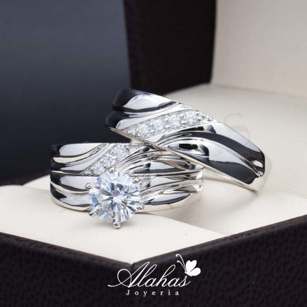 Trio de boda en plata 925 ABPT-012