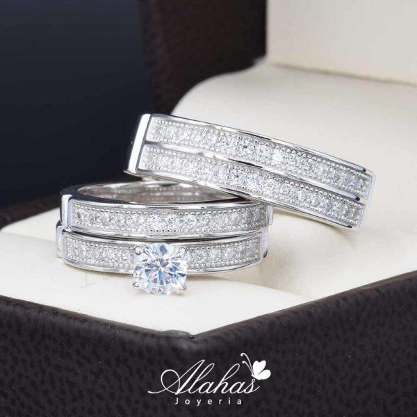 Trio de boda en plata 925 ABPT-013