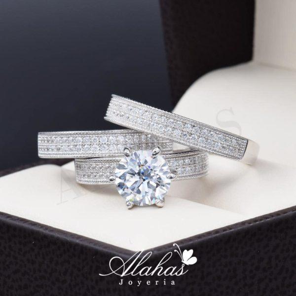 Trio de boda en plata 925 ABPT-015