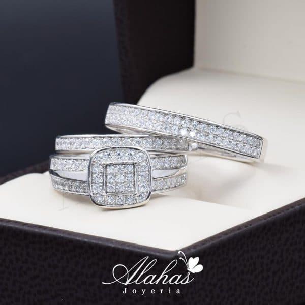 Trio de boda en plata 925 ABPT-017