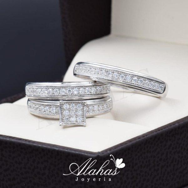 Trio de boda en plata 925 ABPT-018