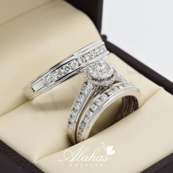Trio de boda en oro 14k con diamantes tdiam-001
