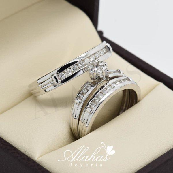 Trio de boda en oro 14k con diamantes tdiam-002