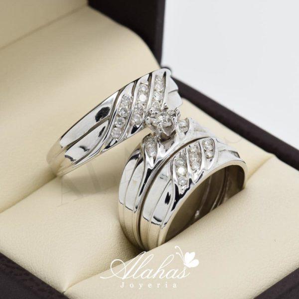 Trio de boda en oro 14k con diamantes tdiam-003