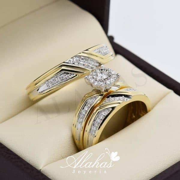 Trio de boda en oro 14k con diamantes tdiam-004