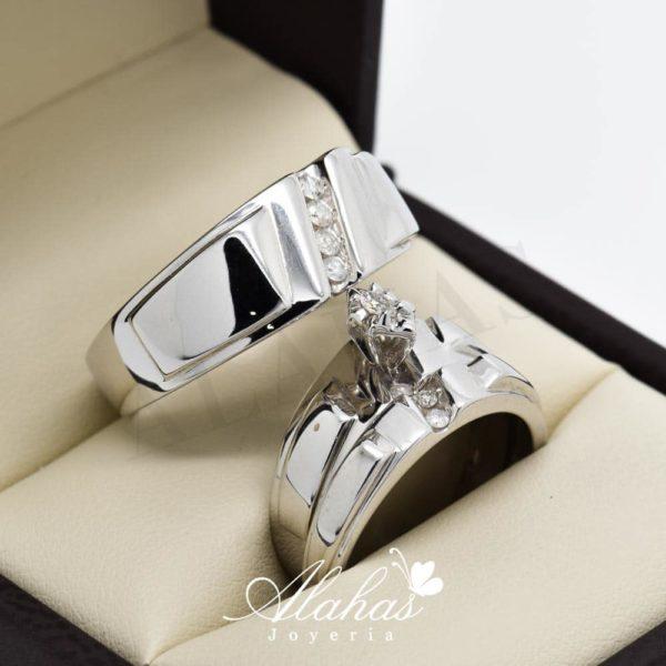 Trio de boda en oro 14k con diamantes tdiam-005