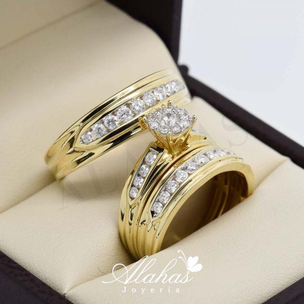 Trio de boda en oro 14k con diamantes tdiam-009
